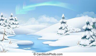 krajobraz., zima, ilustracja, tło., wektor, boże narodzenie...