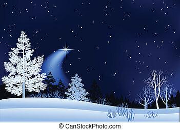 krajobraz, zima, ilustracja