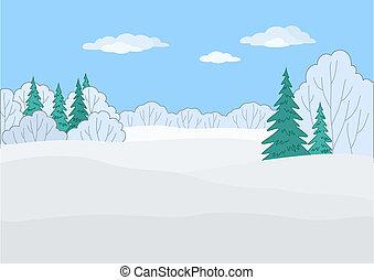 krajobraz, zima, las