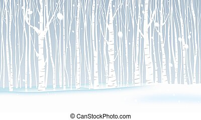 krajobraz, zima, opad śnieżny, las