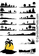 krajobrazy, i, drzewa, od, czarnoskóry, colour., niejaki, wektor, ilustracja