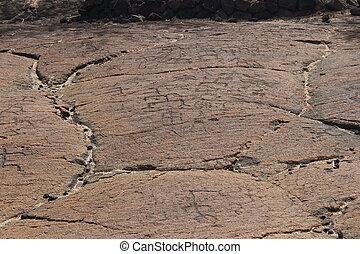 krajowiec, hawajczyk, petroglify, w, lawa