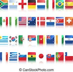 krajowy, bandery, od, kraje