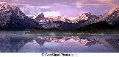 krajowy, panoramiczny, park, kananaskis, prospekt, banff, niższy, jezioro