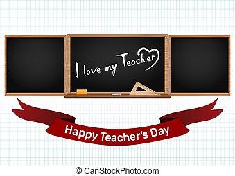 krajowy, powitanie, day., nauczycielstwo, karta, szczęśliwy