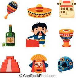 krajowy, wektor, ilustracja, obiekty, mexical