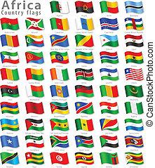 krajowy, wektor, komplet, bandera, afrykanin