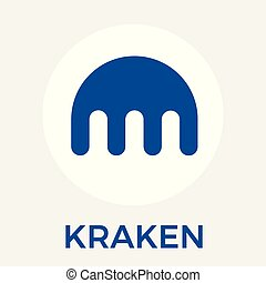 Kraken cryptocurrency bitcoin exchange and blockchain currency vector logo