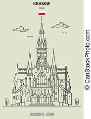 krakow, église, joseph, repère, icône, poland., rue.