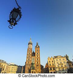 krakow, 中心, st.mary's, poland., 歴史的, 教会