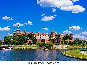 krakow, 城, wawel, ポーランド, 光景