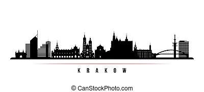 krakow, 横, スカイライン, banner.