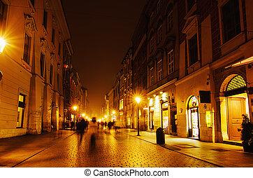 krakow, 通り, 夜