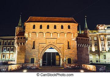 krakow, centre, pologne, historique, barbacane, nuit, forteresse