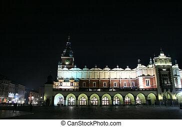 Krakow - city night view - Krakow at night. Beautiful Polish...