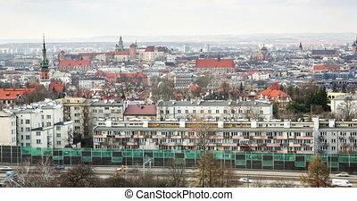 Krakow city, Poland - View of modern and historic Krakow...