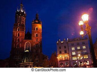 krakow, glowny, rynek, st., メアリーの, バシリカ, ポーランド