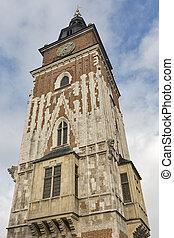 Krakow gothic town hall tower, Poland.