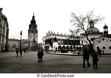 Krakow in black and white. Beautiful Polish city that once has been the capital city. The view of main market square.