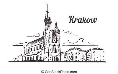 krakow, main, krakow, dessiné, pologne, illustration, sketch., horizon