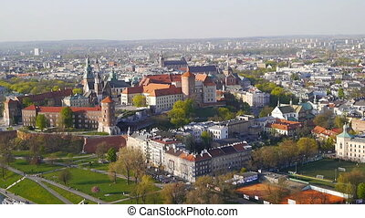 Krakow Panorama from an air balloon .
