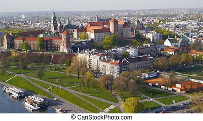 Krakow Panorama from an air balloon .