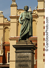 Krakow, Polônia, pano, Adão, estátua, frente,  mickiewicz, corredor