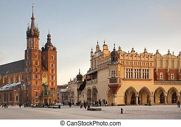 krakow, polônia, -, quadrado, principal, mercado