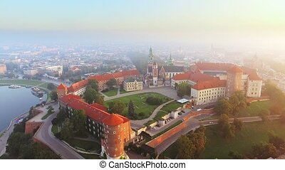 Krakow, Poland. Wawel royal Castle and Cathedral, Vistula...