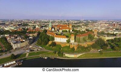 Krakow, Poland. Wawel royal Castle and Cathedral, Vistula...