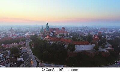 Krakow, Poland. Wawel royal Castle and Cathedral, Vistula River.