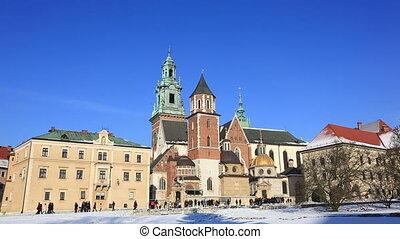krakow, pologne, wawel, territoire, touristes, château