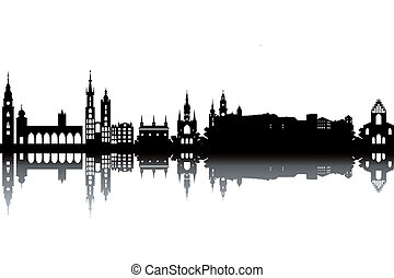 Krakow skyline - black and white vector illustration