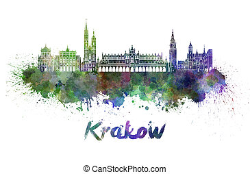 Krakow skyline in watercolor splatters with clipping path