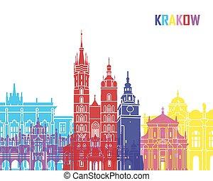 Krakow skyline pop in editable vector file