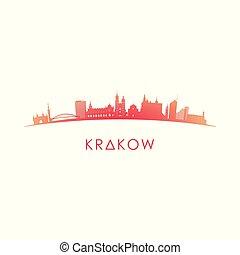 Krakow skyline silhouette.