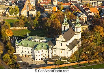 krakow, st. 。, poland., 教会, 航空写真, stanislaus, 司教, 光景
