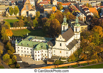 krakow, str., poland., kirche, luftaufnahmen, stanislaus,...