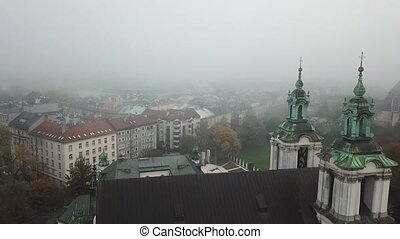 Krakow, veil of mist covered the town - Aerial View of...