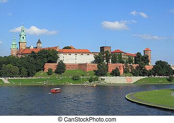 Krakow, Poland - famous Wawel Castle hill. UNESCO World Heritage Site.