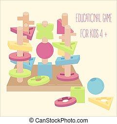 kralen, blokjes, houten, onderwijs, spel, pegs