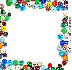kralen, frame, tekst, -, glas, vormen, witte , grens