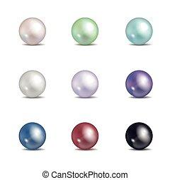 kralen, pearls., juwelen, vrijstaand, veelkleurig, vector, achtergrond, witte , nacre