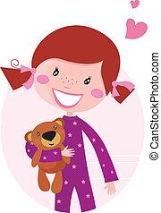 krama, liten flicka, björn, teddy