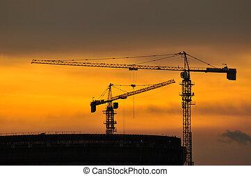 kran, för, konstruktion, in, skymning