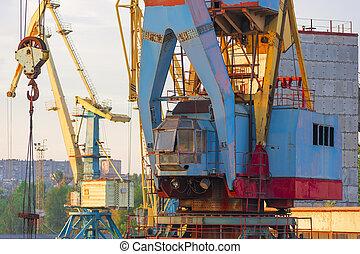 kran, lastning, havn, beholdere