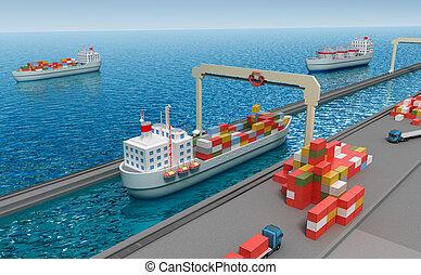 kran, lyftande, last behållare, och, ladda, den, skepp