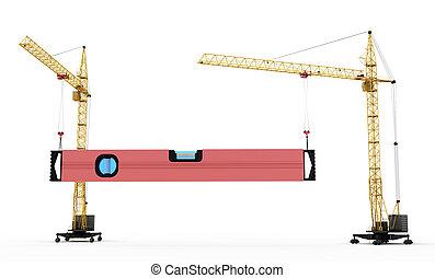 kranen, bouwsector, twee, verheffen, niveau