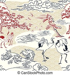 kranen, model, japanner, traditionele , pijnbomen, vector, oosters