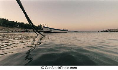 kranevo, sur, côte, coucher soleil, mer, noir, bulgarie